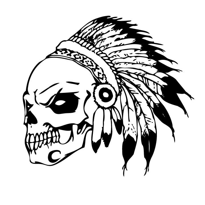 Native American Skull With Headdress Sticker Headdress Stickers