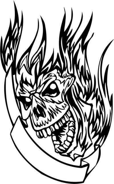 Flaming Skull Sticker 16