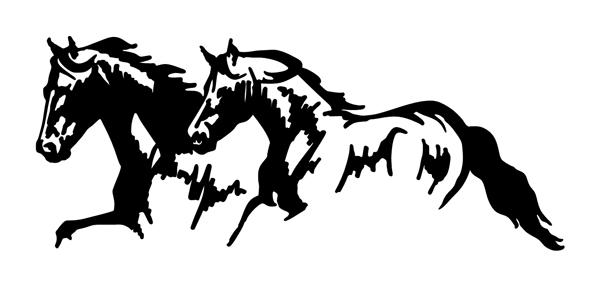 2 Horses Running Sticker