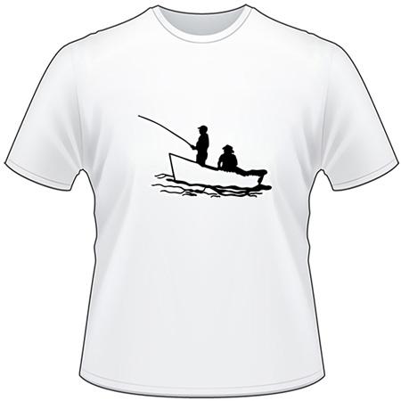 2 Fisherman in Boat Fishing T-Shirt