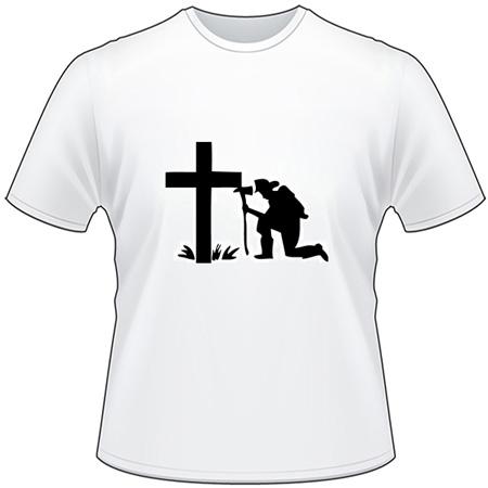Fireman Praying at Cross T-Shirt