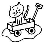 Cat in Wagon Sticker
