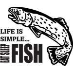 Life is Simple Eat Sleep Fish Salmon Fishing Sticker