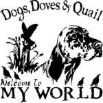 Dogs Doves and Quail My World Sticker