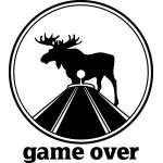 Game Over Moose in Bullseye Sticker