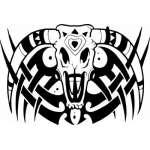 Native American Skull Sticker 9