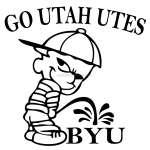 Go Utah UTES Pee On BYU Sticker