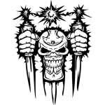 Cyber Skull Sticker 26