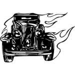 Flaming Hotrod Sticker 12