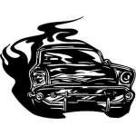 Flaming Hotrod Sticker 13