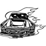 Flaming Hotrod Sticker 28