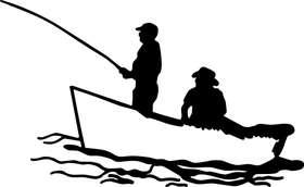 2 Fisherman in Boat Fishing Sticker