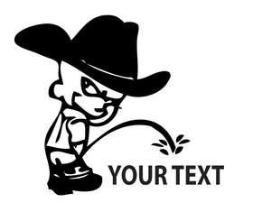 Calvin Cowboy Pee On Sticker