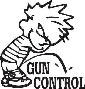 Calvin Pee on Gun Control Sticker