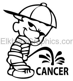Calvin Pee On Cancer Sticker