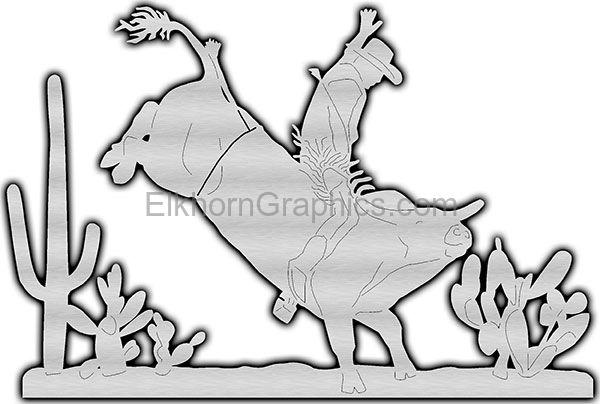Cowboy Bull Metal Art